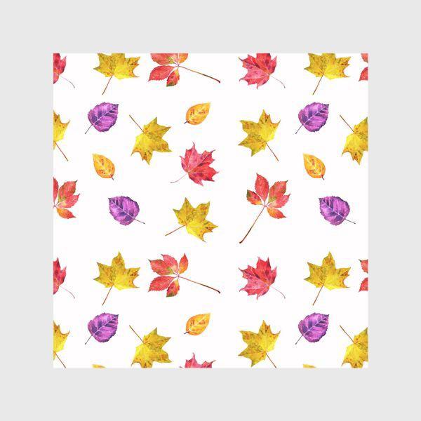 Шторы «Осенние цветные листья. Акварельный ботанический принт на белом фоне»