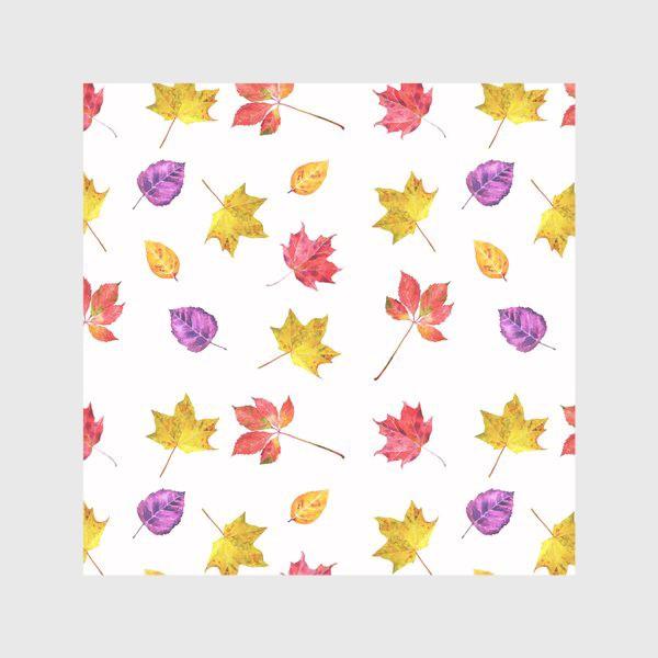 Скатерть «Осенние цветные листья. Акварельный ботанический принт на белом фоне»