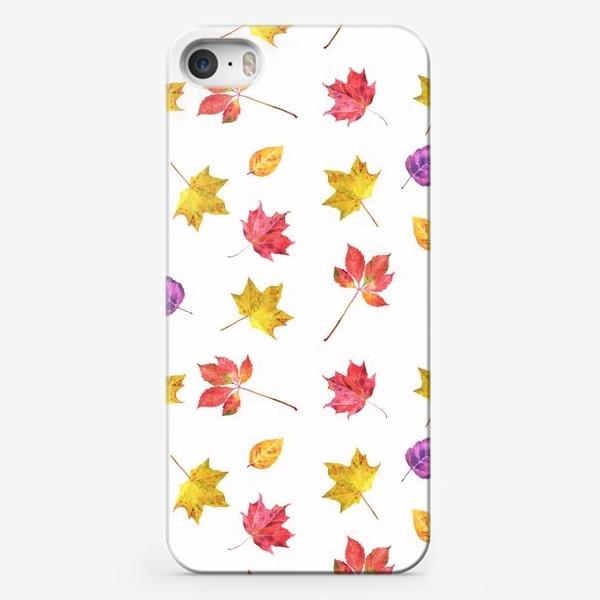 Чехол iPhone «Осенние цветные листья. Акварельный ботанический принт на белом фоне»