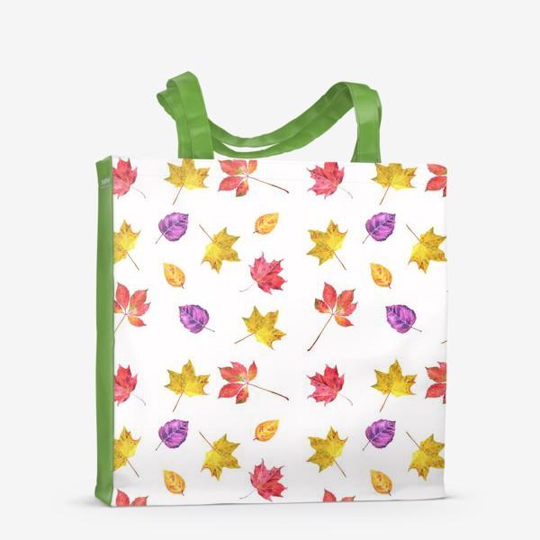 Сумка-шоппер «Осенние цветные листья. Акварельный ботанический принт на белом фоне»