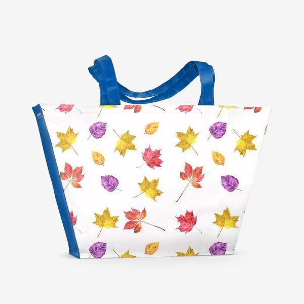 Пляжная сумка «Осенние цветные листья. Акварельный ботанический принт на белом фоне»