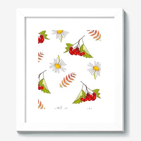 Картина «Осень, ромашка, лето, калина»