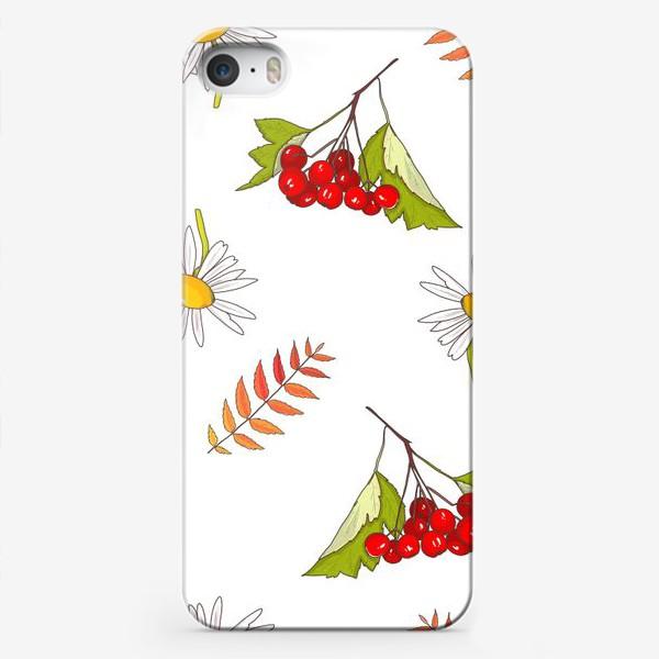 Чехол iPhone «Осень, ромашка, лето, калина»