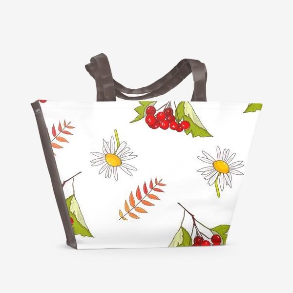 Пляжная сумка «Осень, ромашка, лето, калина»