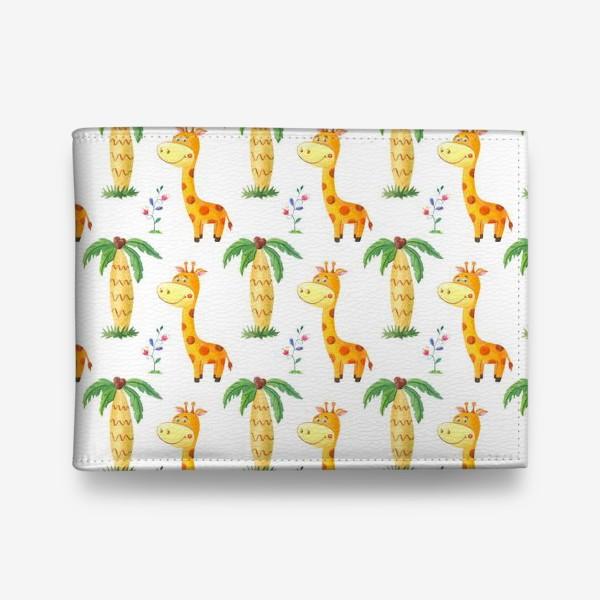 Кошелек «Милый узор с жирафами и пальмами.»