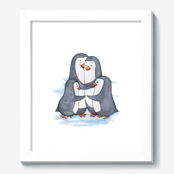 Картина «Пингвины. Семья. Нежность»