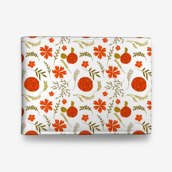 Кошелек «Цветочный узор. Красные цветы.»