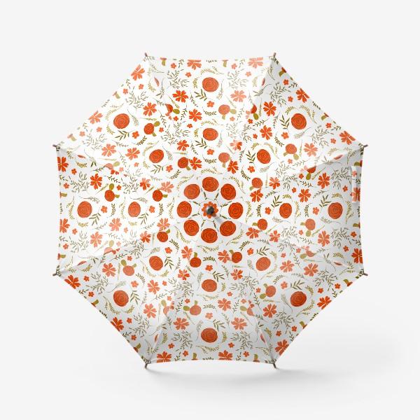 Зонт «Цветочный узор. Красные цветы.»