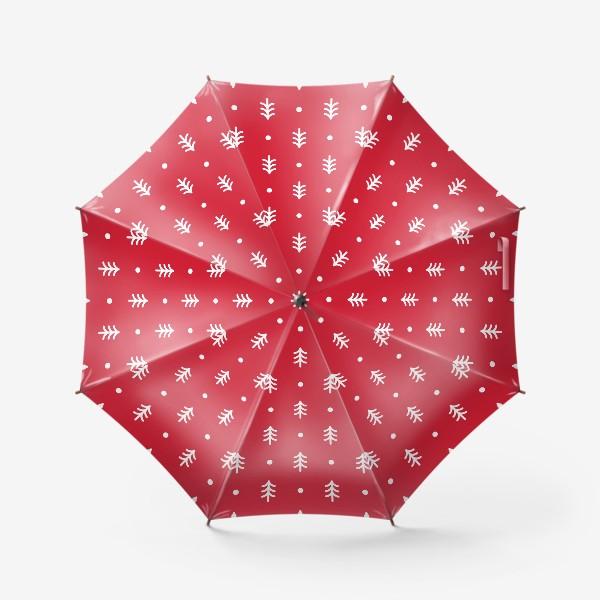 Зонт «Новогодний паттерн с минималистичными ёлочками»