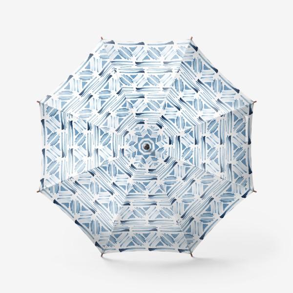 Зонт «Акварельный бело-синий этнический узор»
