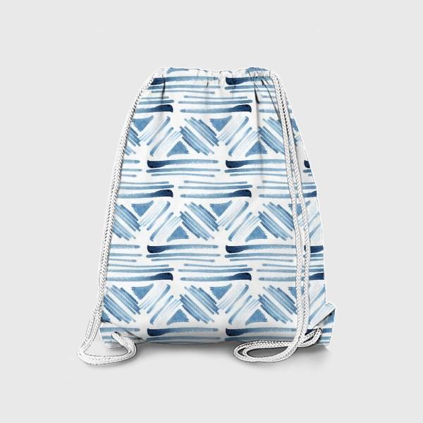 Рюкзак «Акварельный бело-синий этнический узор»