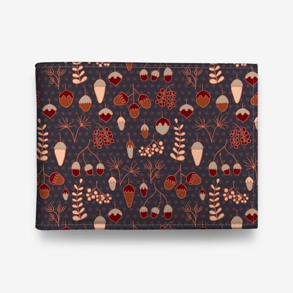 Кошелек «Желуди, ягоды, листья. Теплые, коричневые тона»