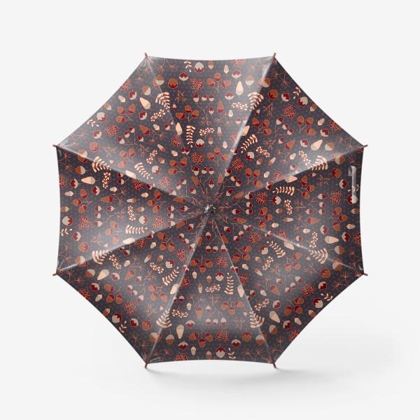 Зонт «Желуди, ягоды, листья. Теплые, коричневые тона»