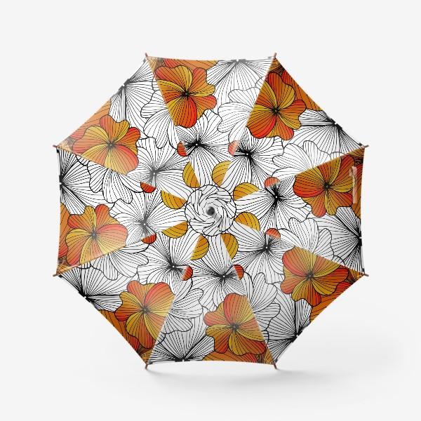 Зонт «Осенние оранжевые цветы»
