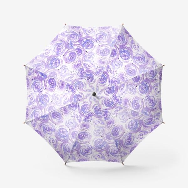 Зонт «Фиолетовые розы. Акварельный цветочный абстрактный принт на белом фоне»
