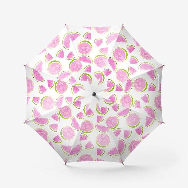 Зонт «Сочный арбуз. Летний акварельный принт на белом фоне»