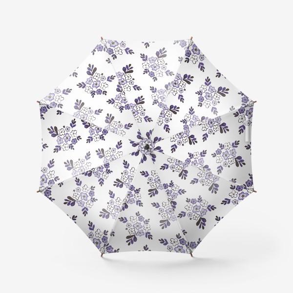 Зонт «Фиолетовый акварельный цветочный паттерн»