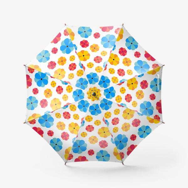Зонт «Цветочки на белом фоне»