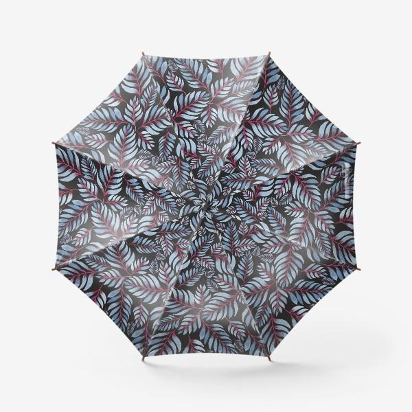 Зонт «Голубые листья с красной серединкой на черном фоне»