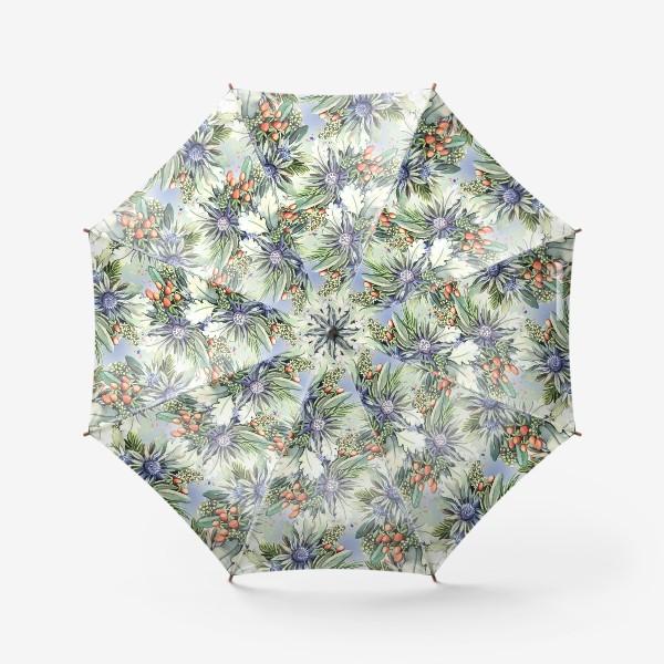 Зонт «Зимний цветочный паттерн»