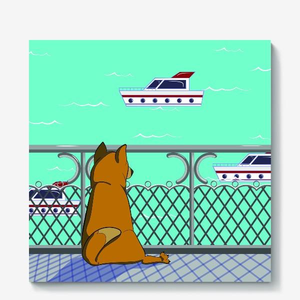 Холст «Собака и море»