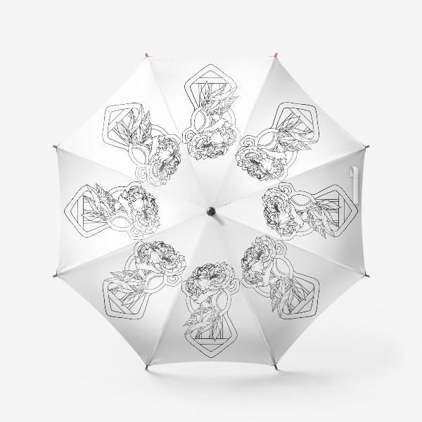 Зонт «Мак и пион Одно целое Модерн Ар нуво Лайн»