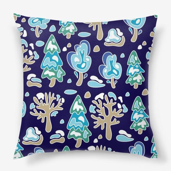 Подушка «Зимний лес, детский принт»