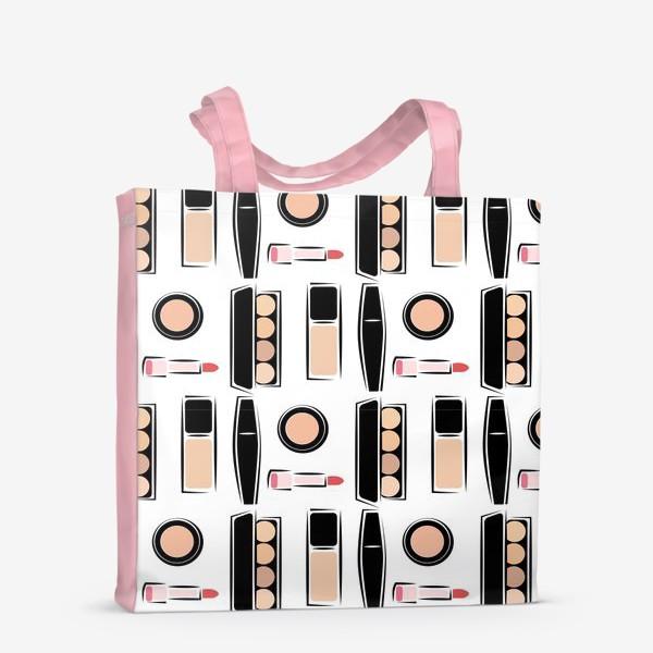 Сумка-шоппер «Паттерн декоративной косметики nude»