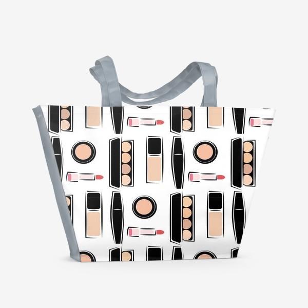 Пляжная сумка «Паттерн декоративной косметики nude»