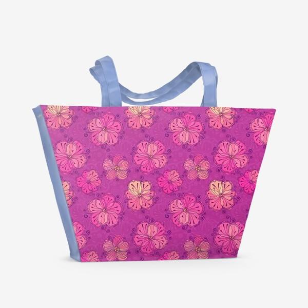 Пляжная сумка «Розовые цветы»