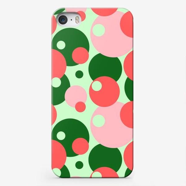 Чехол iPhone «Цветные круги на светло-зеленом фоне»
