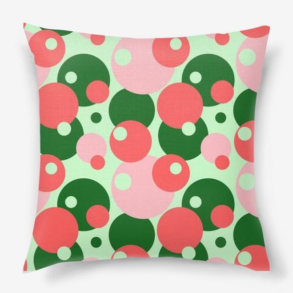 Подушка «Цветные круги на светло-зеленом фоне»