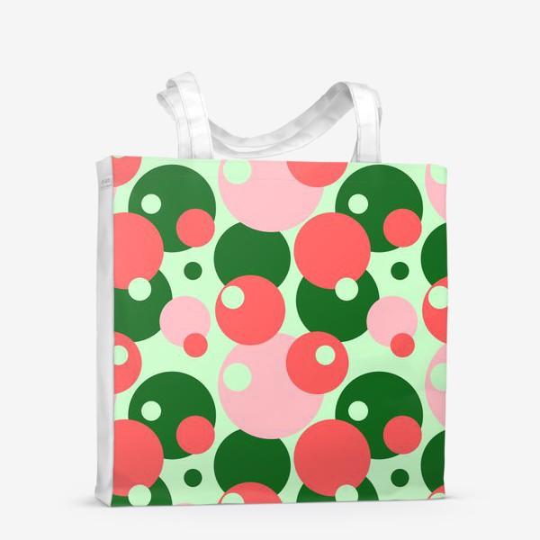Сумка-шоппер «Цветные круги на светло-зеленом фоне»