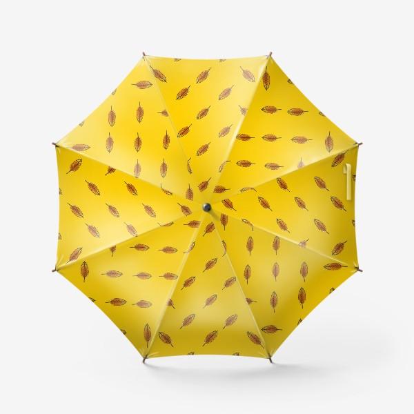 Зонт «Листья рябины на желтом фоне»