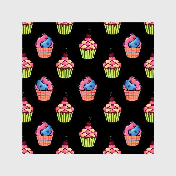 Шторы «Цветные пирожные на темном фоне»