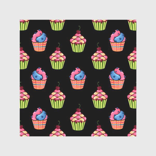 Скатерть «Цветные пирожные на темном фоне»