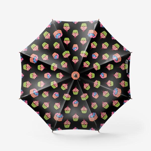 Зонт «Цветные пирожные на темном фоне»