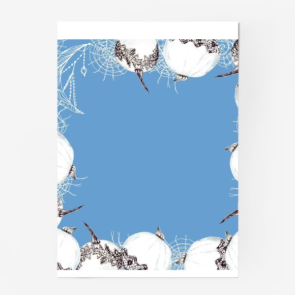 Постер «Элегантный хэллоуин, тыквы, паутина, кружево»