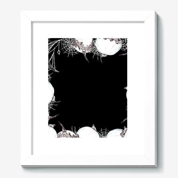 Картина «Черно-белый хэллоуин, кружева, тыквы, паутина, волшебство»