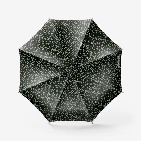 Зонт «Паттерн веточки на черном фоне»