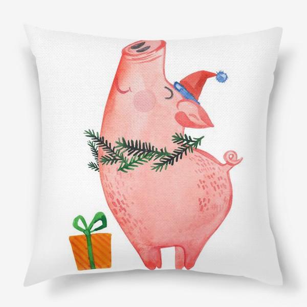 Подушка «Свинья с подарком. С новым годом!»