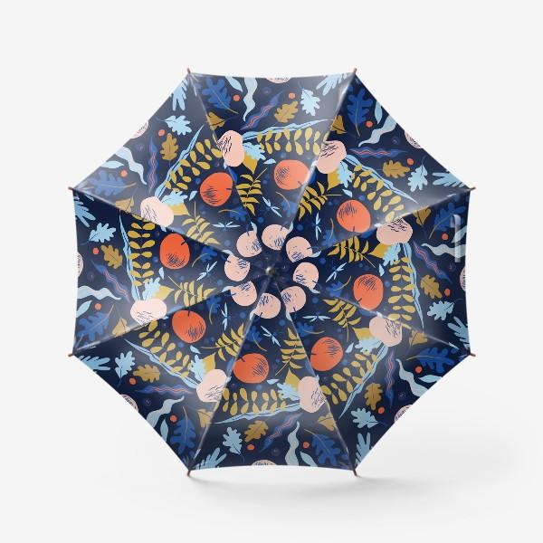Зонт «осенний паттерн с яблоками и цветами»