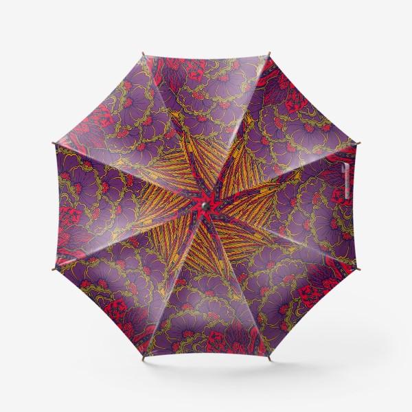 Зонт «Паттерн из осенних цветов и листьев в восточном стиле»