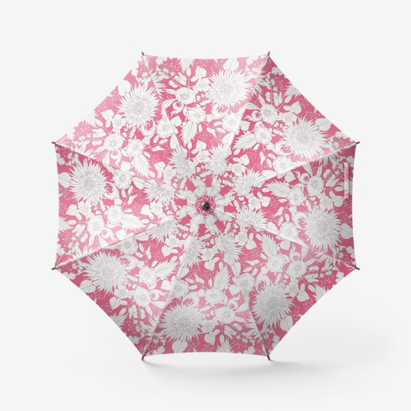 Зонт «Паттерн из луговых цветов на розовом фоне»