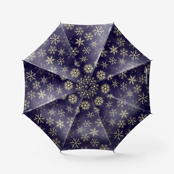Зонт «Снежинки на синем фоне»