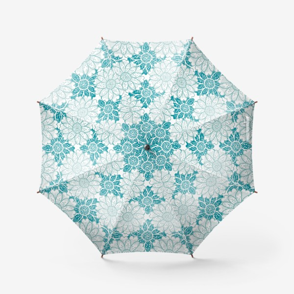 Зонт «Бирюзовые цветы. Хризантемы. Паттерн»