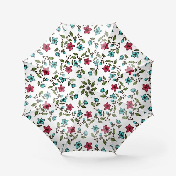 Зонт «Цветочный узор на белом фоне»