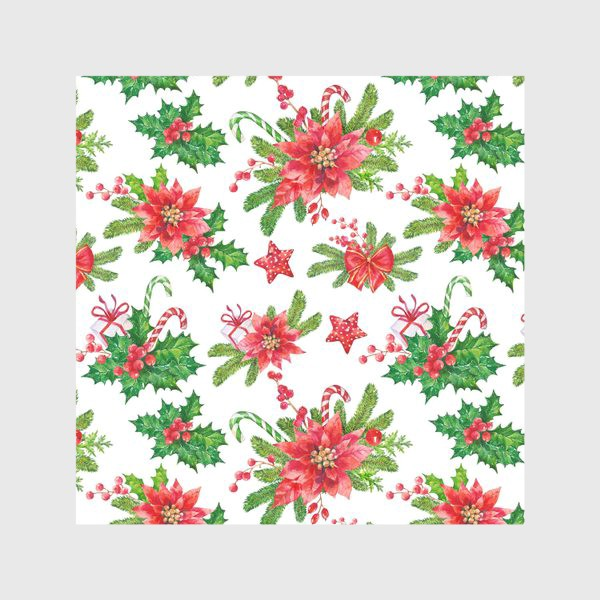 Скатерть «Christmas pattern with red flowers»
