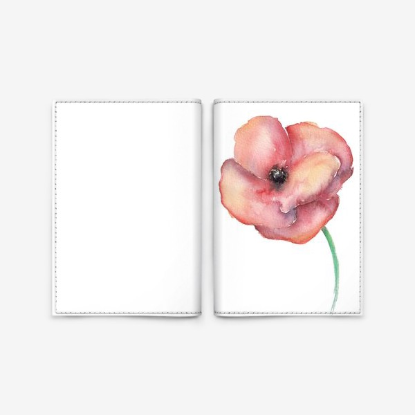 Обложка для паспорта «Акварельный мак на белом»