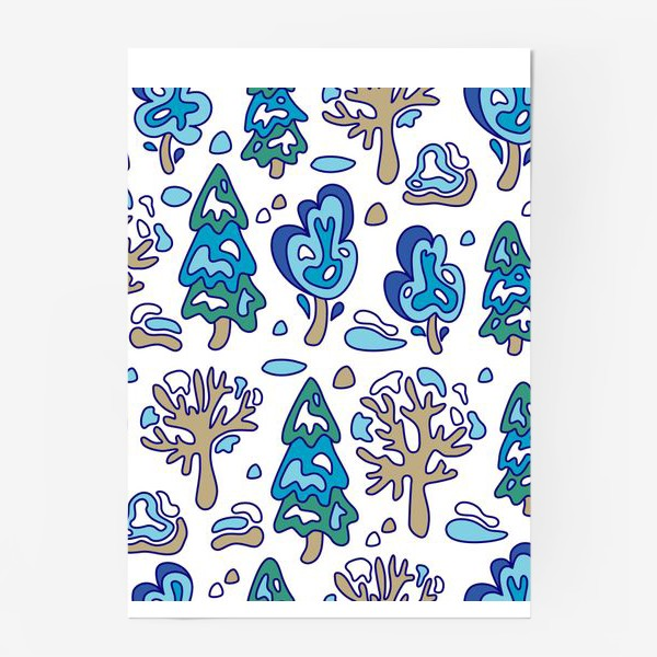 Постер «Зимний лес, детский принт»